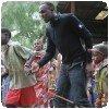 Usain Bolt et enfants maasais