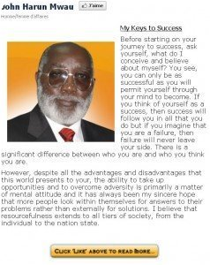 John Mwau sur Facebook